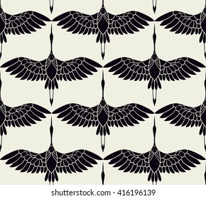seamless pattern in the form of stylized birds cranes flying in the sky. on white background black birds.