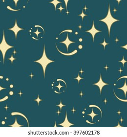 seamless pattern of four-pointed star on a blue background, can use it for packaging, textile design and scrap booking