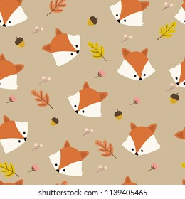 Seamless pattern with Fox in the autumn forest. Vector illustration.
