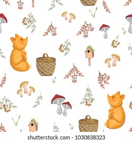 Seamless pattern with fox, basket, mushrooms, tree branches and berries. Cute cartoon characters. Hand drawn vector illustration in watercolor style