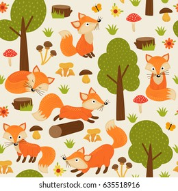 seamless pattern with fox in forest - vector illustration, eps