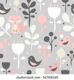 Seamless pattern with fox. Kids patterns. Vector cute background.