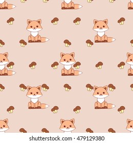 seamless pattern fox and mushrooms.eps8