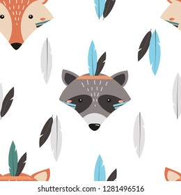Seamless pattern with Fox and raccoon in Scandinavian style. Vector illustration for printing on fabric, bed linen, packaging paper, dishes, clothes. Cute baby background with animals.