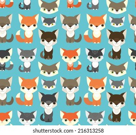 Seamless pattern with fox and squirrel  and others