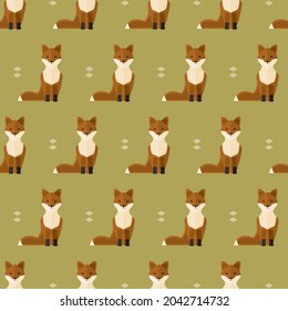 seamless pattern foxes animal forest on green background vector wallpaper textile giftwrap