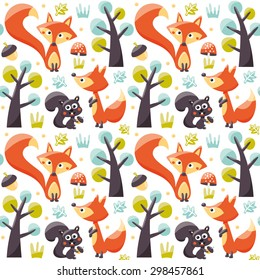Seamless pattern with foxes, squirrels, trees, acorns and leafs