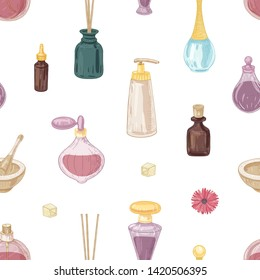 Seamless pattern with fragrant cosmetics, perfumes in glass bottles, mortar and pestle, incense sticks on white background. Elegant hand drawn vector illustration in vintage style for wrapping paper.