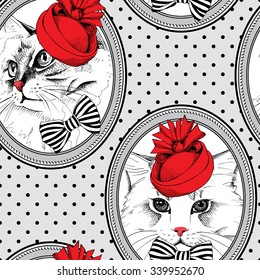 Seamless pattern. Frame with image of cat in red Elegant royal hat and bow. Vector illustration.