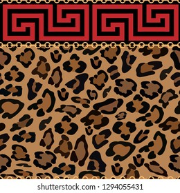 Seamless pattern Frames of Chinese style with gold chains and leopard skin, Geometric in red pattern and golden chains with leopard print on brown background, Abstract pattern background