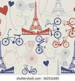 Фотообои Seamless pattern of France Landmark - Eiffel Tower. Stylish pattern can be used for linen, tile, wallpaper, design fabric, cover, greeting card and more creative designs.