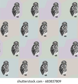 Seamless pattern with freaky looking black and white tawny owl. Cute texture for textile, wrapping paper, cover, background, design, wallpaper