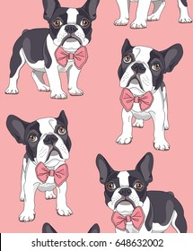 Seamless pattern. French Bulldog with a bow tie on a pink background. Vector illustration.