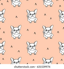 Seamless pattern with french bulldog on pink background