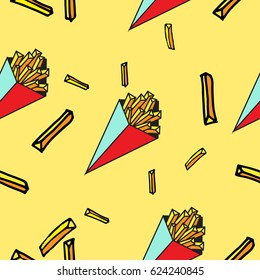 ?olorful seamless pattern french fries. Food. Vector illustration
