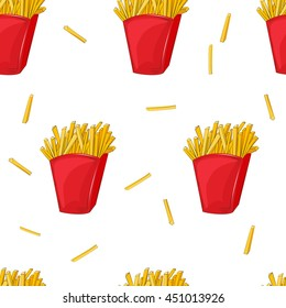 Seamless pattern of French fries in a red cardboard box. Vector illustration. Cartoon style. Isolated object. Fast food product.