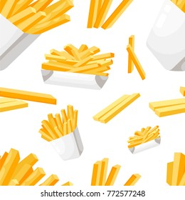 Seamless pattern french fries in white paper box flat style fastfood vector illustration on white background web site page and mobile app design.