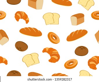 Seamless pattern of fresh bakery set on white background - vector illustration