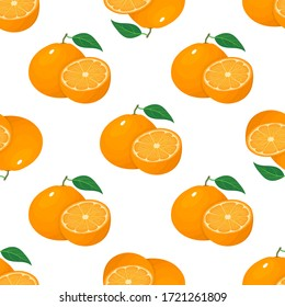 Seamless pattern with fresh bright exotic whole and half tangerine or mandarin isolated on white background. Summer fruits for healthy lifestyle. Organic fruit. Vector illustration for any design.