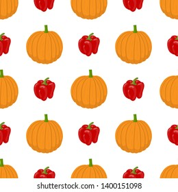 Seamless pattern with fresh pumpkin and bell pepper vegetables. Organic food. Cartoon style. Vector illustration for design, web, wrapping paper, fabric, wallpaper.