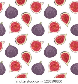 Seamless pattern with fresh ripe delicious juicy figs whole and cut in half and quarter. Fig vector seamless pattern on white background.