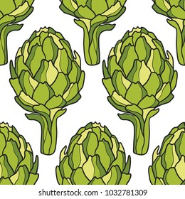 Seamless pattern with fresh vegetables. Colorful overlapping background vector. Hand drawn illustration with artichokes. Decorative wallpaper, good for printing