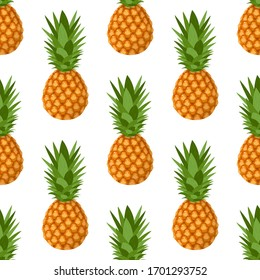 Seamless pattern with fresh whole pineapple fruit with leaves on white background. Summer fruits for healthy lifestyle. Organic fruit. Cartoon style. Vector illustration for any design.