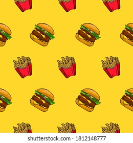 Seamless pattern of fries and hamburger, on a bright yellow background. Drawn by hand. Fast food. Perfect for printing on fabric, paper or for cafe menu backgrounds.
