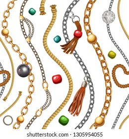 Seamless pattern with fringe, gold and silver chains for fabric design, wallpapers, prints. Vector background with metallic accessories.