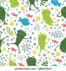 Seamless pattern with frogs and fishes.