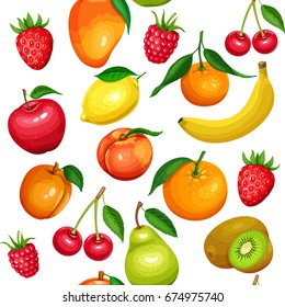 Seamless pattern of fruits and berries mango, lemon, peach, banana, apple, pear, orange or kiwi, apricot, cherry and mandarin. Vector illustration in carton style.