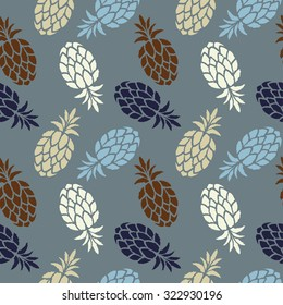 Seamless pattern with fruits pineapples. Colorful repeating background. Cloth design. Wallpaper, wrapping