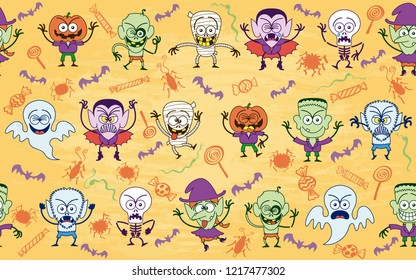 Seamless pattern full of characters making funny faces and having fun. Seamless design showing Halloween vampires, monsters, witches, mummies, zombies, scarecrows, skeletons, werewolves and ghosts