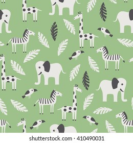 Seamless pattern with funny African animals. Vector illustration.