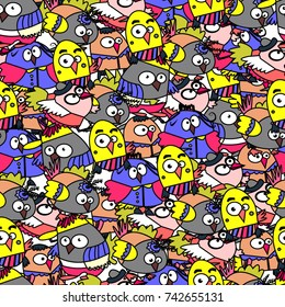 Seamless pattern of funny birds. Cartoon. Color doodle. Owls