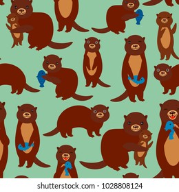 Seamless pattern Funny brown otters with fish on green background. Kawaii animals. Vector