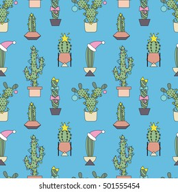 Seamless pattern with funny cacti with christmas decoration. Retro 80s and 90s style vector art. Bright vintage background. Abstract design in Memphis style.