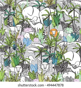Seamless pattern funny cartoon animals of Africa. Wild animals in the jungle thickets. Children's wallpaper, coloring, background for your blog, textile.