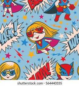 Seamless pattern with funny cartoon boys and girls superheroes and superhero elements.
