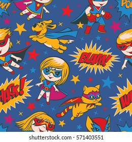 Seamless pattern with funny cartoon boys, girls, dogs and cats superheroes and superhero elements.