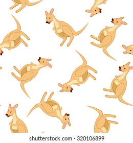Seamless Pattern From Funny Cartoon Character Kangaroo With Smile and  Sitting on a Floor Over White Background. Hand Drawn in Perspective View Elegant Cute Design. Vector illustration.