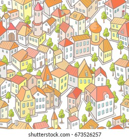Seamless Pattern with Funny Cartoon City. Vector Illustration in Doodle Style
