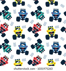 Seamless pattern, Funny cartoon cute monster trucks isolated on white background illustration vector.