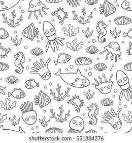 Seamless pattern with funny cartoon fish, crab, octopus, jelly fish, sea horse, shark and squid. Tile background for your design, fabric textile, wallpaper or wrapping paper. Adorable doodle animals.