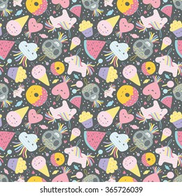 Seamless pattern with funny cartoon pinatas characters - unicorn, heart, donut, watermelon, ice cream, cloud, Day of the Dead sugar scull