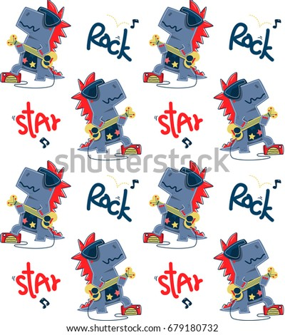 Seamless Pattern Funny Cartoon T Rex Rock Star Guitar Player Stand On Stage Isolated