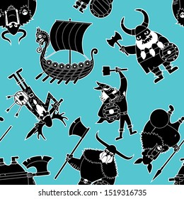 Seamless pattern with funny cartoon Viking silhouettes.