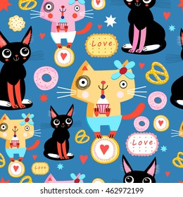 Seamless pattern with funny cats in love on a blue background