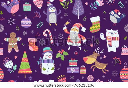 seamless pattern of funny christmas characters on purple background endless christmas background for print fabric - Funny Christmas Wrapping Paper