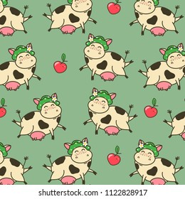 Seamless pattern with funny cow cartoon character. Cute flying kine with red apples. Vector illustration for children's design.